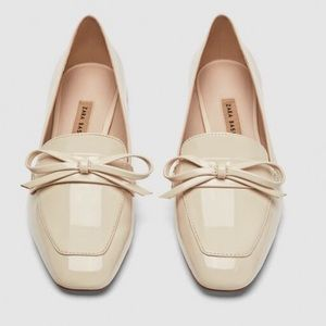 ZARA Nude Bow Front Loafers -Size 39 (NEW)
